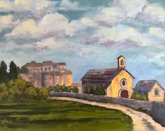 Lovely Village landscape Grignan, France Oil 9x12