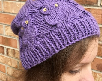 Cabled Owl Beanie with Button Accents, Shown in Custom Purple