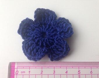 Set of 4 crochet flowers Navy Blue
