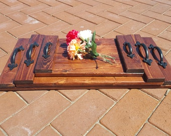 Rustic Nested Serving Trays in Red Oak