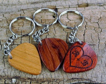 ONE Custom Engraved Wooden Guitar Pick Keychain - (Choose Wood Type and Design) - Wood Guitar Pick - Guitar Pick - Custom Guitar Pick