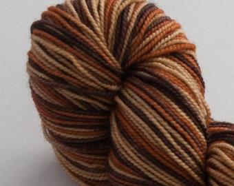 Ernestine Sock Weight- Chocolate Caramel -Superwash Merino/Nylon Hand Dyed Yarn 400 yards