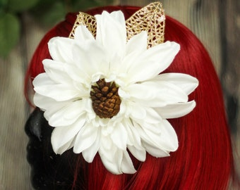 SALE White & Gold Dahlia Hair Flower with Pine Cone Center Pinup Fascinator Clip