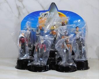 Vintage Star Trek PVC Figures, 1992, The Next Generation, Display Stand, 10 Figures, Unused, Store Display, Picard, Riker, Data, Worf, Troi