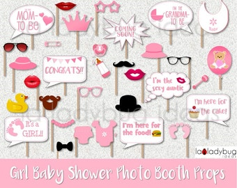 Baby shower photo booth props Pink for Girl, Printable. DIY baby shower selfie station. Instant download. PDF Digital file. High resolution.