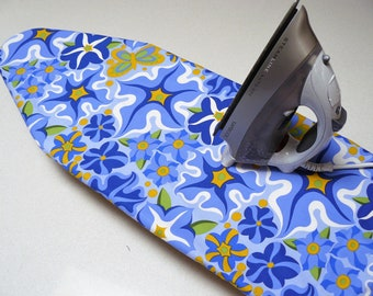 Ironing Board Cover TABLE TOP - cornflower blue yellow and navy blue flowers