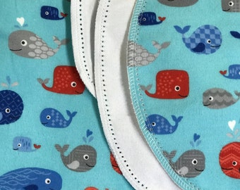 Blue Whales hemstitch flannel baby blanket and burp cloth, double sided flannel receiving size 36x40.  Perfect swaddle.