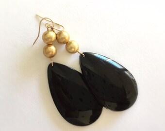 Black Drop Earrings - Gold Jewelry - Black and Gold - Dangle Earrings - Statement