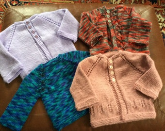 Hand Knit Baby Sweaters - 0-3 Months, 3-6 Months, 6-12 Months