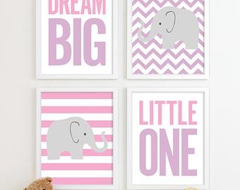 Baby Girl Nursery Decor Chevron Elephant Nursery Art, Kids Wall Art Baby Girl Gift for Girl Gift for Baby Girl Baby Gifts