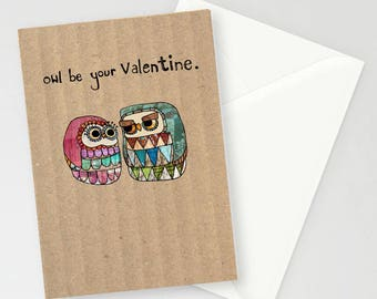 Patchwork Owls 'owl be your valentine' A6 Greetings Card