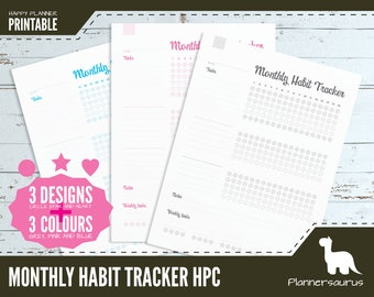 Monthly habit tracker printable | MAMBI printable | Happy Planner Classic size | 7 x 9.25"