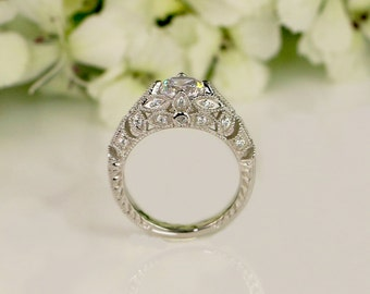 1.36 ctw Vintage Engagement Ring - Art Deco Ring - Wedding Ring - Promise Ring - Cubic Zirconia Ring - Sterling Silver (size 4.5~11)