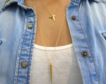 Spike Gold Pendant, 14K gold filled chain, everyday gold necklace, long layering necklace, spike pendant long necklace