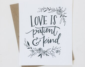Love is patient & kind//8x10 hand lettered art print - watercolor art - bible verse - for the home - child decoration - home decor