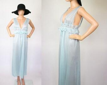 70s Nightgown Lingerie / Baby Blue Nightie Boudoir / Negligee Bed Dress Sleepwear / 1970s Deep V Maxi / Lace + Ruffles / Petite / Medium