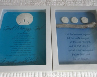 Christian Coastal WORD Art with Driftwood and Shells Sand Dollars Sea Biscuits + Bible Verse Psalm 61 Good Morning God Prayer
