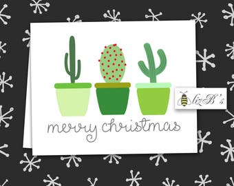 Christmas Cacti Folded Note Cards DIGITAL VERSION
