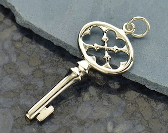 Sterling Silver Key Charm-Gothic Accents