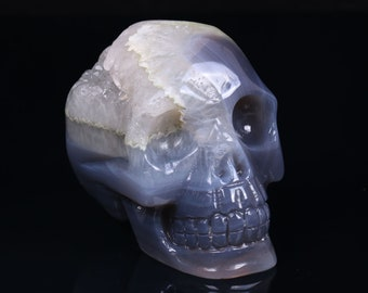 3.18 Inch Natural Blue Grey Agate Geode Quartz Crystal Cluster Carved Skull ,Healing Skull S054