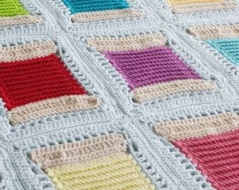 Crochet Pattern, Spoolin' Around Blanket, Afghan, Throw