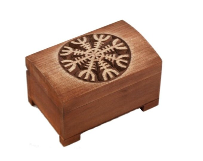 wooden historical jewelry box with hand carved Aegishjalmur pattern