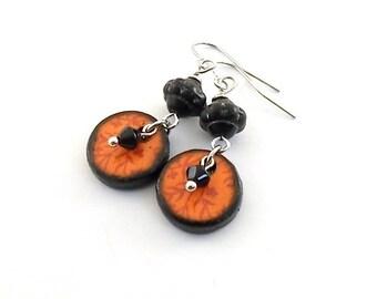 Handmade Earrings, Orange Sunset Earrings, Wood Decopage Earrings, Artisan Earrings, Boho Chic Earrings, Orange Coral, Silver Earrings