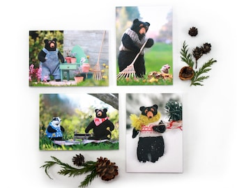 Set of four Rudyard Bear Greeting Cards, blank card set, Four Seasons, Birthday or any occasion