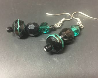 Black and Teal Dangle Earrings