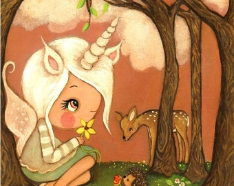 Unicorn Print Unicorn Fairy Whimsical Nursery Girl Forest Friends Wall Art