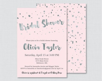 Pink and Gray Bridal Shower Invitation Printable or Printed - Faux Silver Foil and Blush Pink Modern Bridal Shower Invitations 0010-K