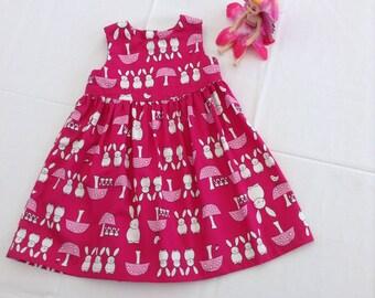 Handmade dress, Babies dress, UK Size 0 - 3 months, Cotton, Clothing, Dresses, Girls clothing, Pink dress, Rabbit pattern, Dresses, Toddler,