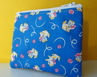 vintage style mini blue pink yellow cat kitten kitty small zipper pouch cute change purse blue zip pouch wallet