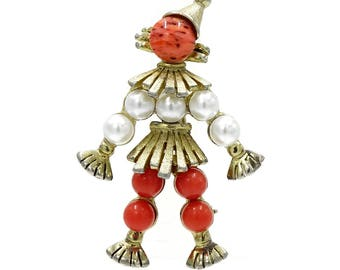 Weiss Scarecrow Figural Pin Orange Art Glass And Pearls