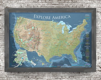 World map pin board etsy national parks map all 59 national parks national monuments in the usa highly detailed map pairs with our voyager world map gumiabroncs Choice Image