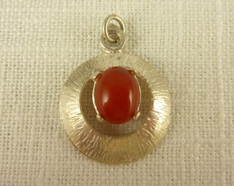 Vintage Sterling and Carnelian Round Charm