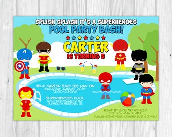 Superhero Pool Party Birthday Invitation