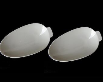 Pair White Porcelain Dish 50's // 7.3  x  3.9 inch