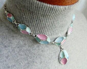 EMMONS Choker Pendant Necklace silvertone links 18 inch vtg 1950s