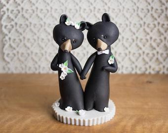 Black Bear Wedding Cake Topper by Bonjour Poupette