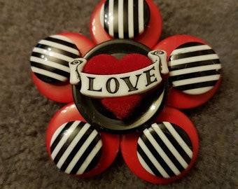 Rockabilly tattoo button brooch