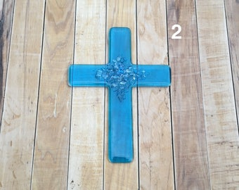 Small Turquoise Fused Glass Cross with Crystal Clear Embellishments