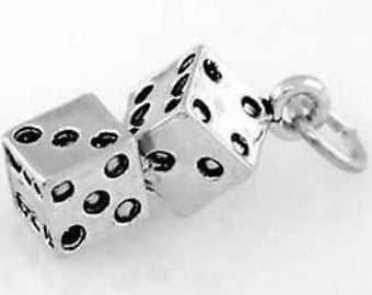 Sterling Silver Pair of Dice Charm jGzDLnQLh