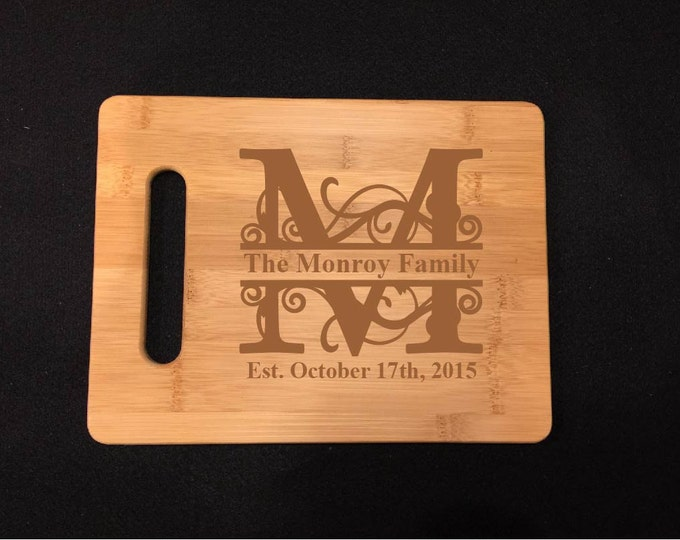 Bamboo Cutting Board, Engraved Cutting Board, Personalized Custom Wood Cutting Board, Wedding Gift, 6+ Different Designs!