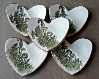 FIVE itty bitty Heart Ring Bowls Ferns OFF WHITE edged in gold  bridal Shower favor
