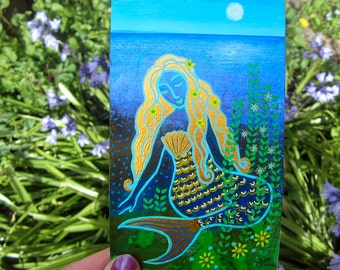 Mermaid Hideaway, original mixed media painting 3.5 x 6ins. flowers, sparkles, wall art