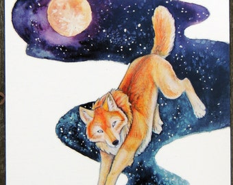 Surreal Star Night Golden Wolf Werewolves of Creation Postcard