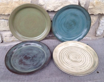 Handmade pottery salad side  plates... Set of four mix and match