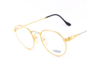 Fred OURAGAN vintage round eyeglasses / golden frames / nautical style / luxury vintage / made in the 90's.