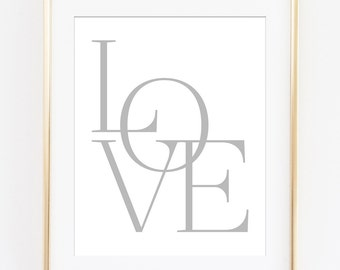 Love Print, Love Printable, Love Wall Art, Typography Poster, Gray Typography, Gray Love Letters, Love Sign, Love Art Print, Printable Art